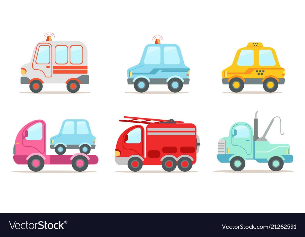 Flat set of various vehicles ambulance