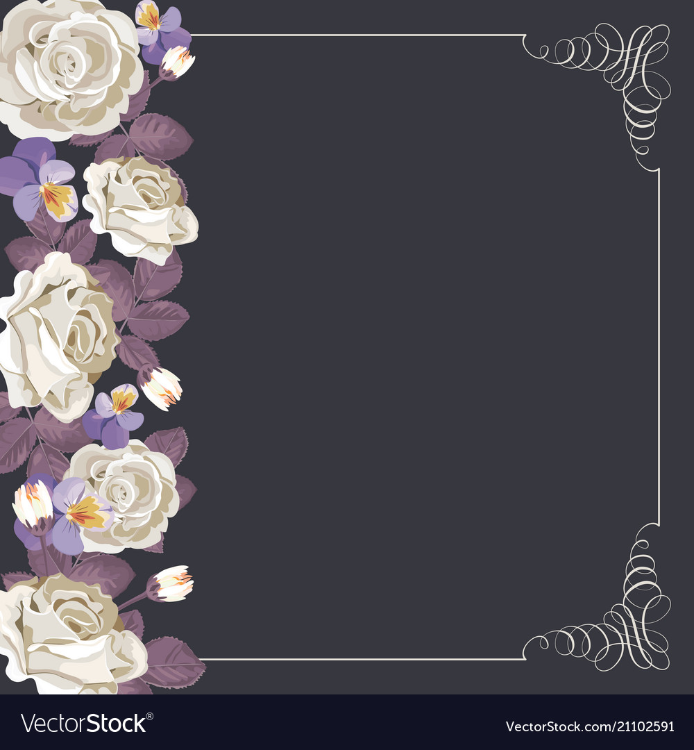 Flora card template with white roses and square