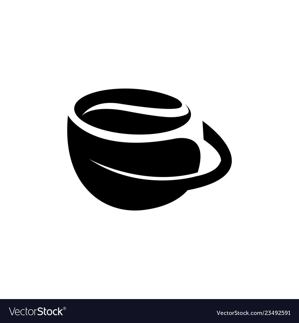 Green tea and hot coffee flat logo icons