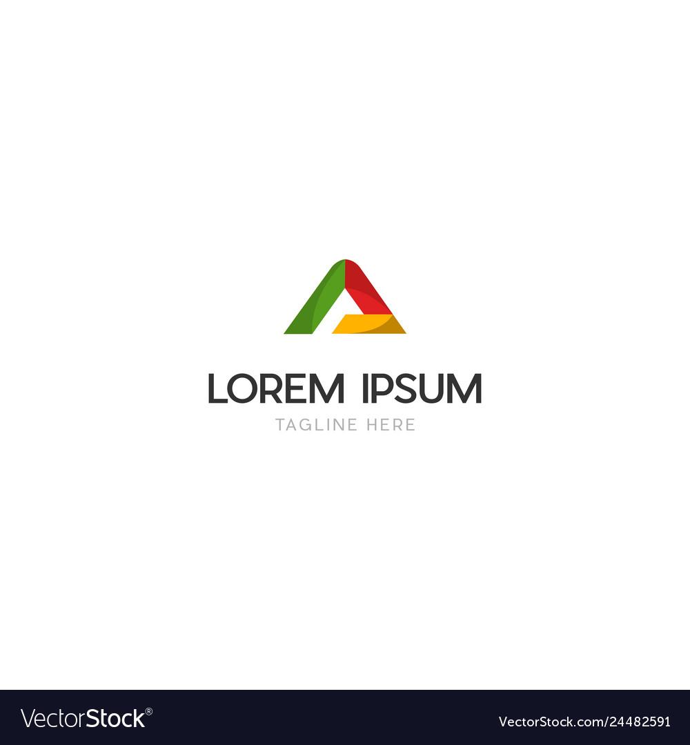 Letter a media technology business logo vector image