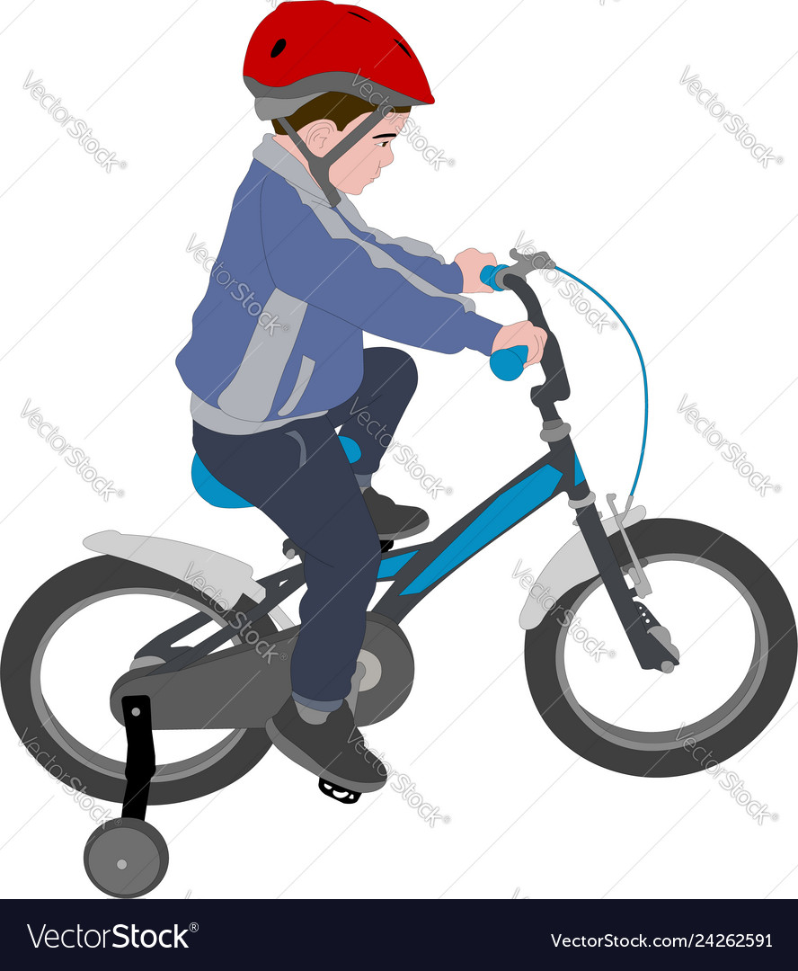 Little boy riding bicycle color