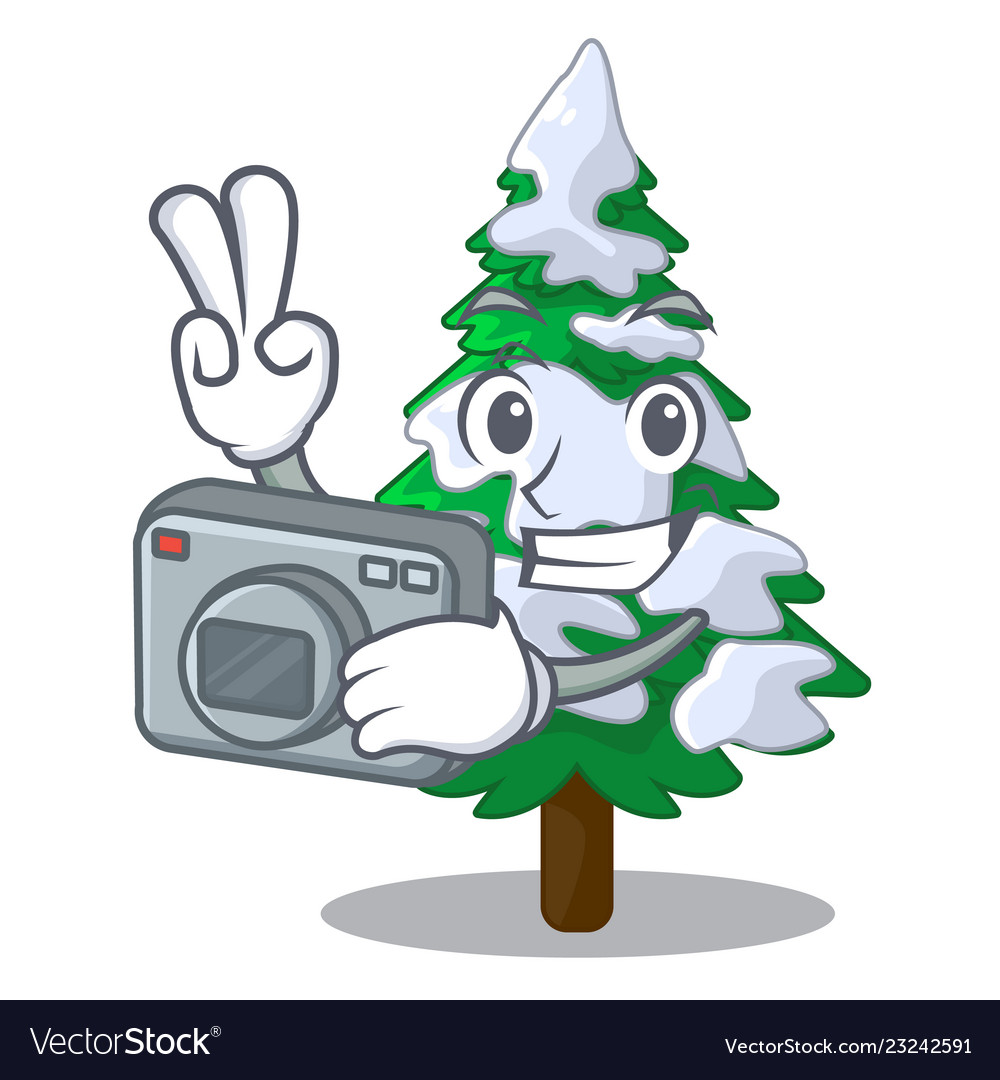 Photographer Realistic Fir Tree In Snow Mascot Vector Image Tree png cartoon realistic trees all types. photographer realistic fir tree in snow mascot vector image