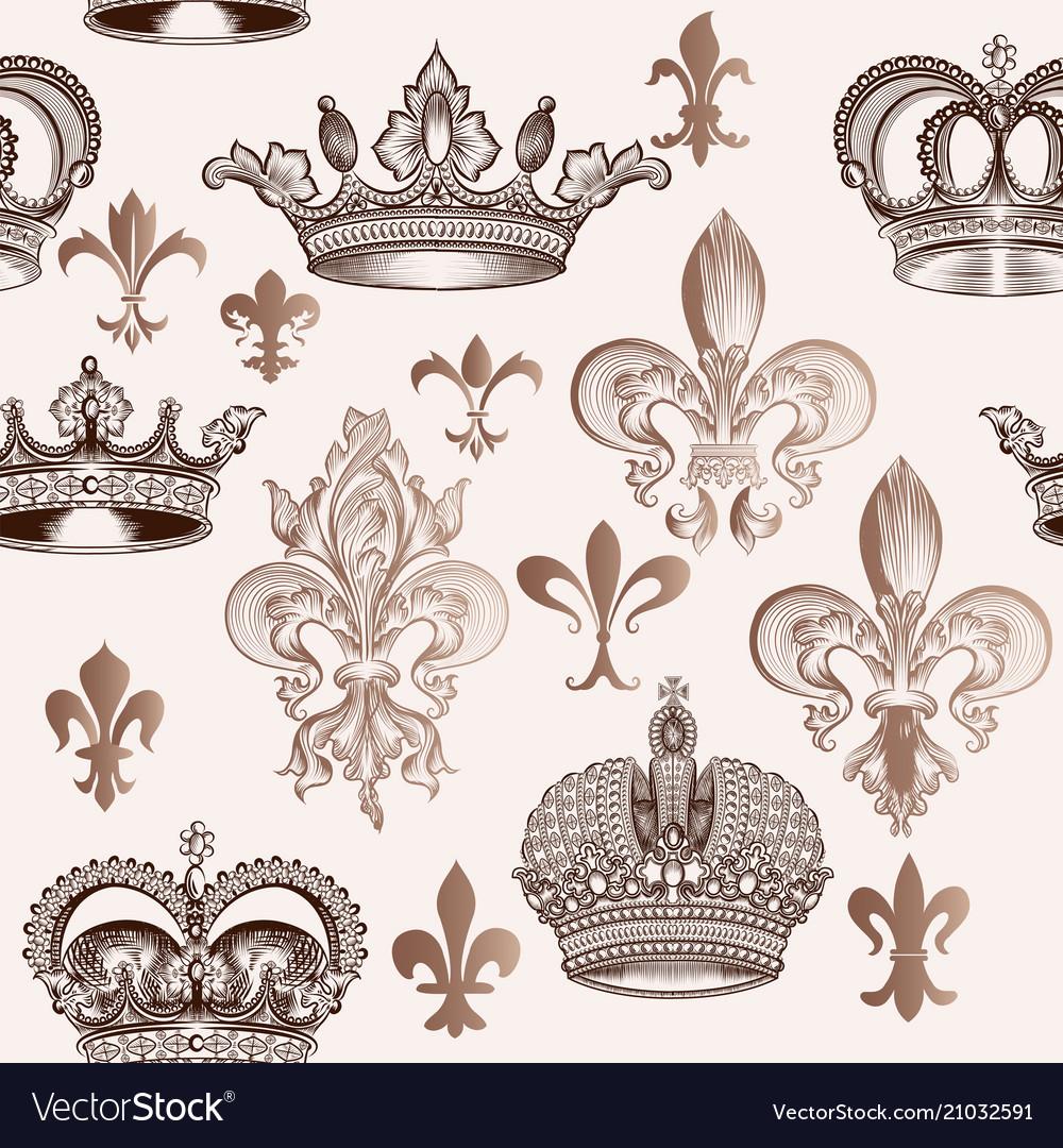 Vintage pattern with crowns and fleur de lis