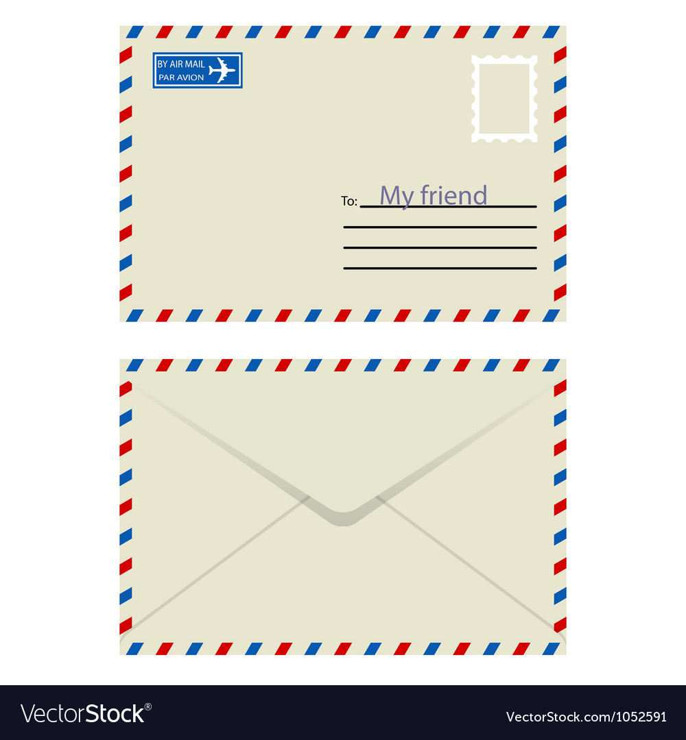 White envelope with stamp