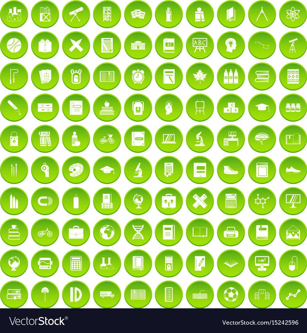 100 school icons set green circle vector image
