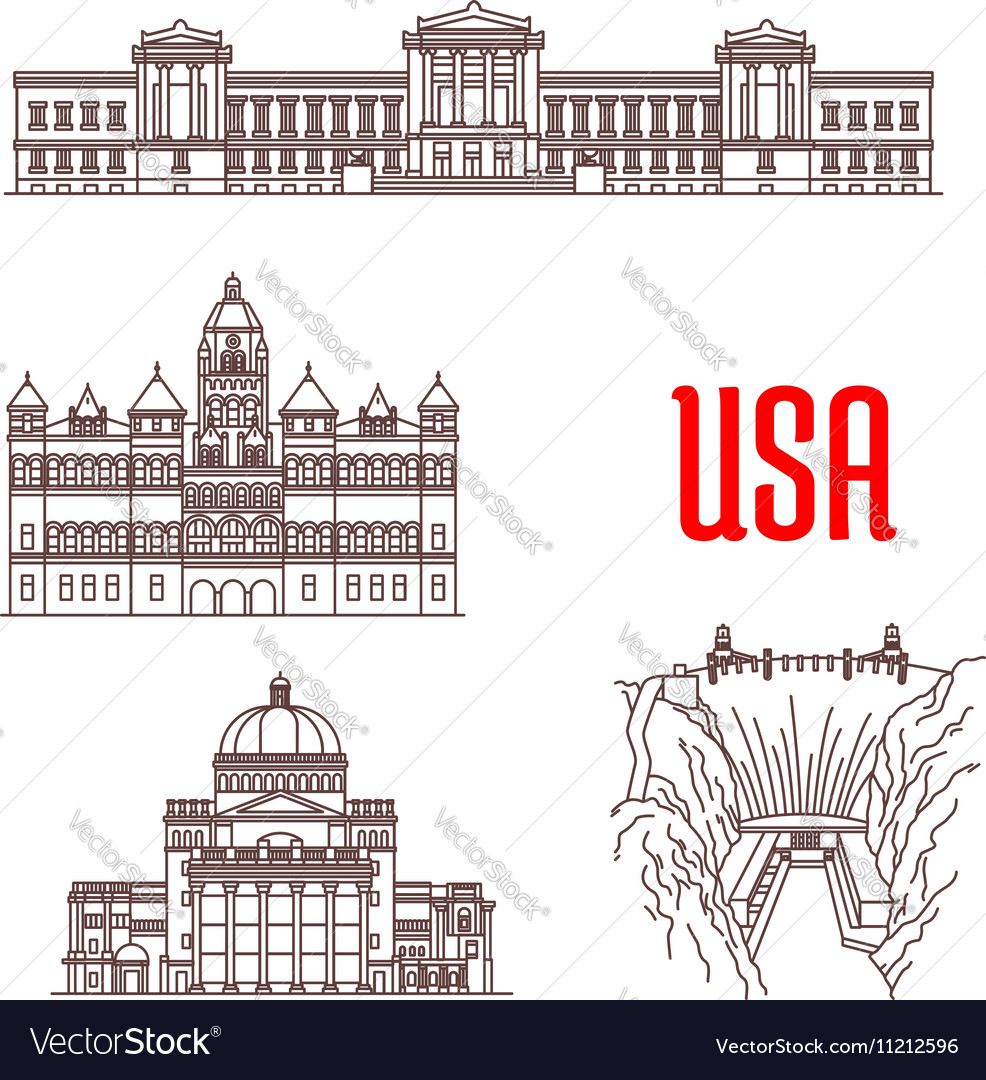 American landmarks and sightseeings icons vector image