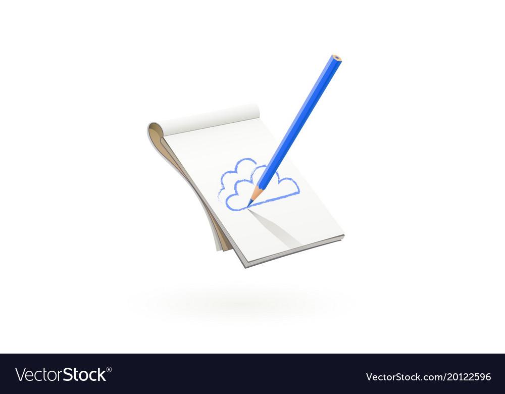 Blue pencil draw cloud at art