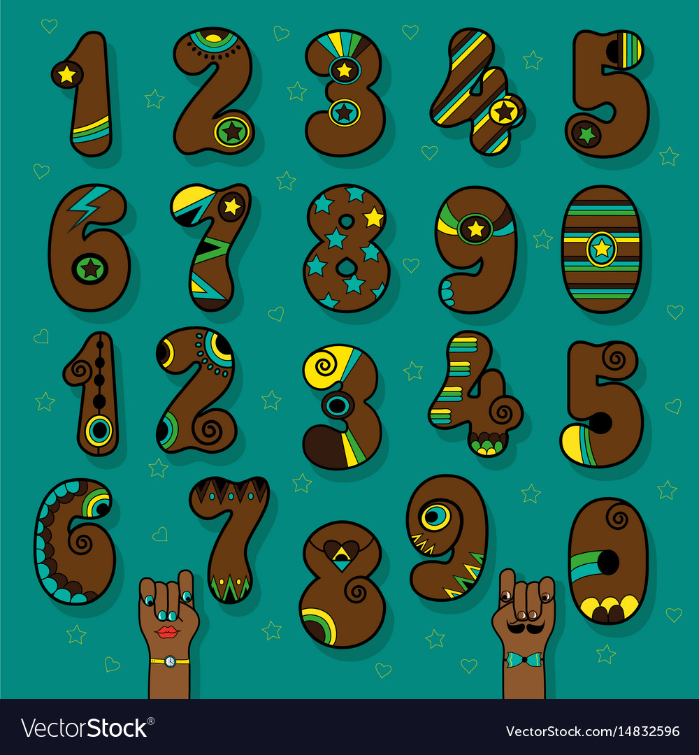 Brown numbers with bright decor