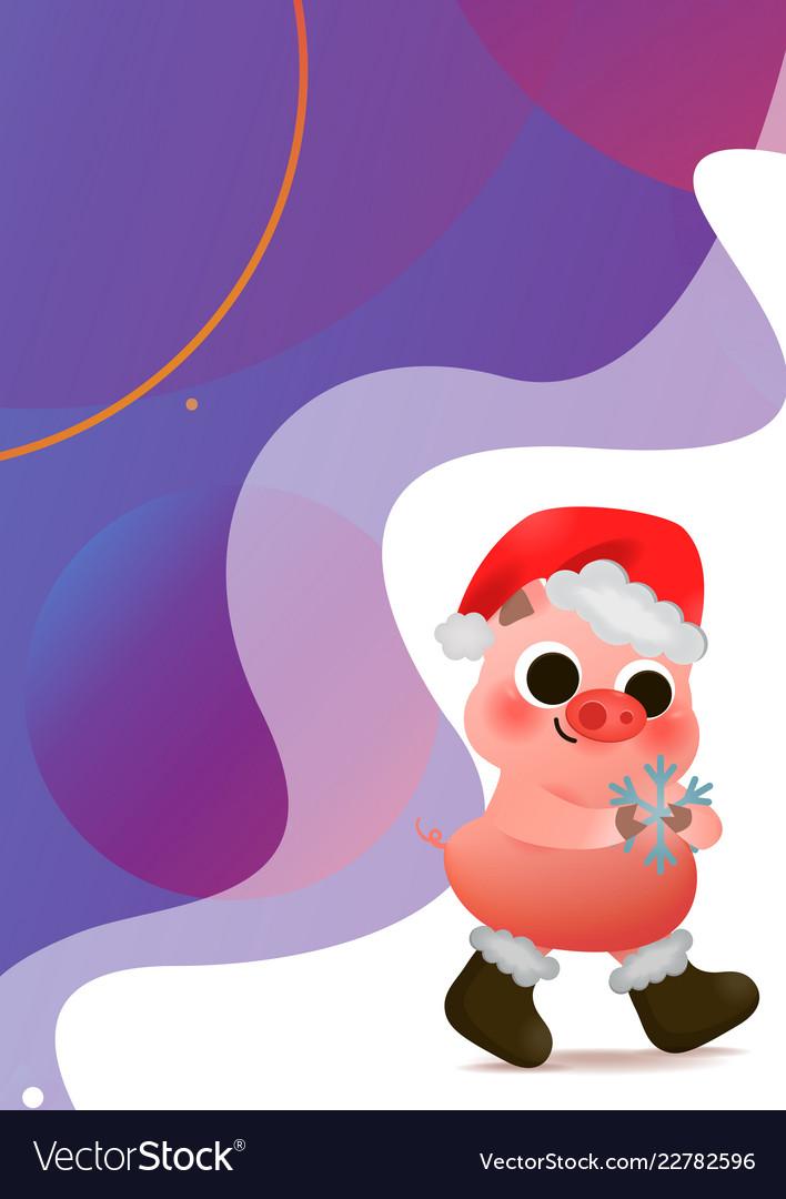 Cartoon cute piggy in santa hat greeting card