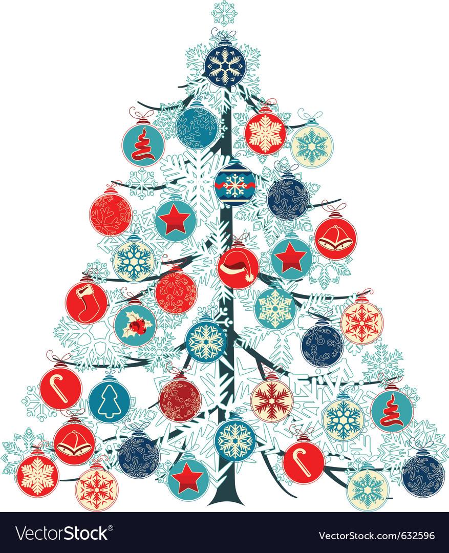 Christmas Tree Made Of Balls Vector Image