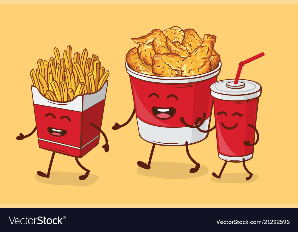 Friends forever fries chicken fried and cola
