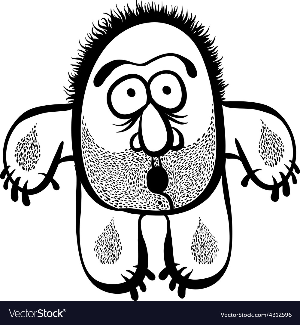 Funny cartoon monster with stubble black and white