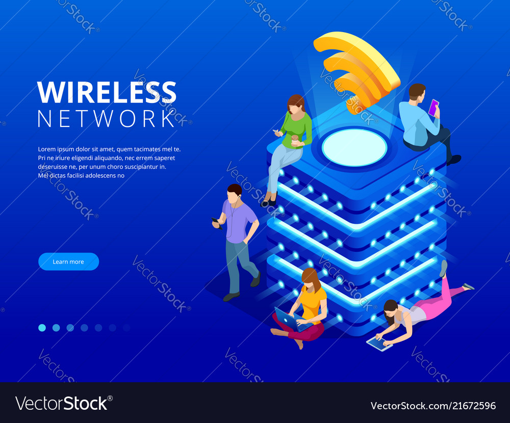 Isometric modern server with wireless network