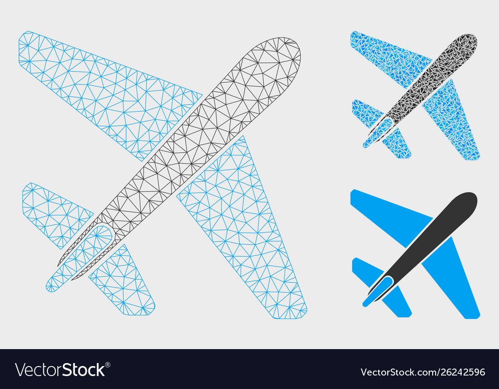 Jet airplane mesh wire frame model and
