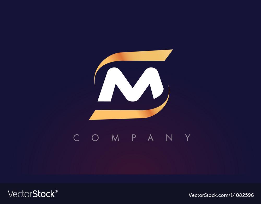 M letter logo design modern letter template vector image