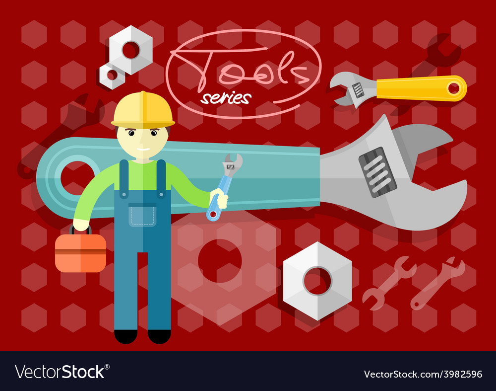 Man person with toolbox and wrench in hands