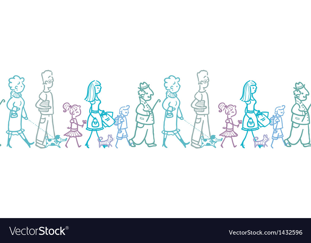 People walking horizontal seamless pattern vector image
