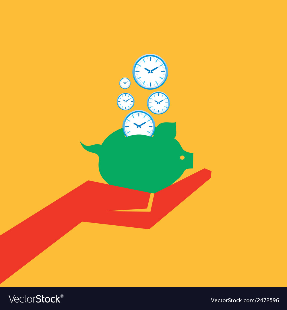 Save time concept with piggy bank stock vector image