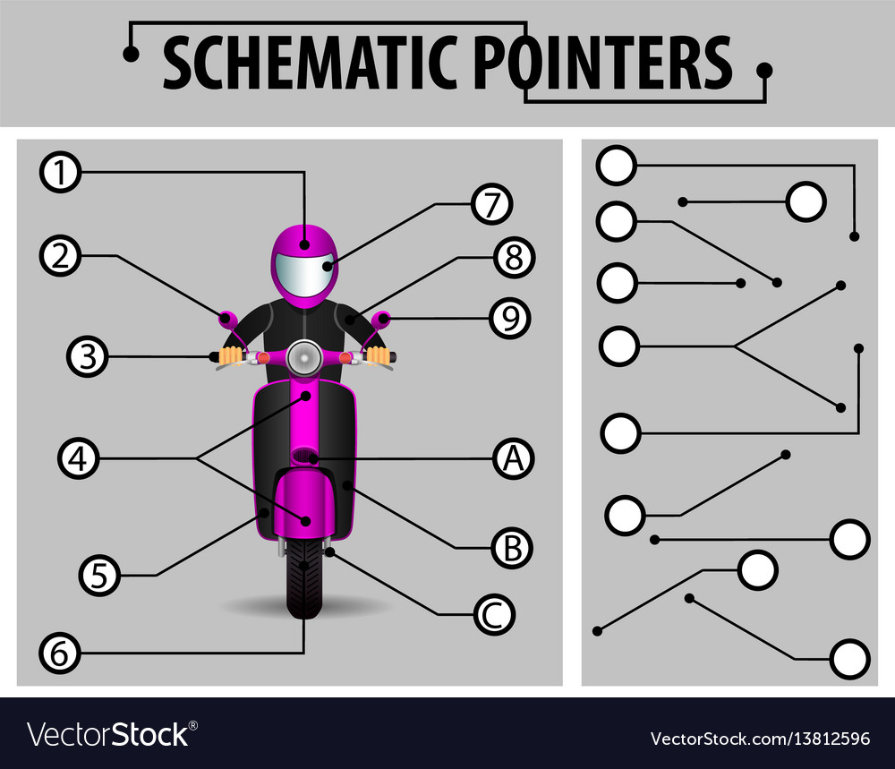 Schematic pointers extension lines to indicate vector image