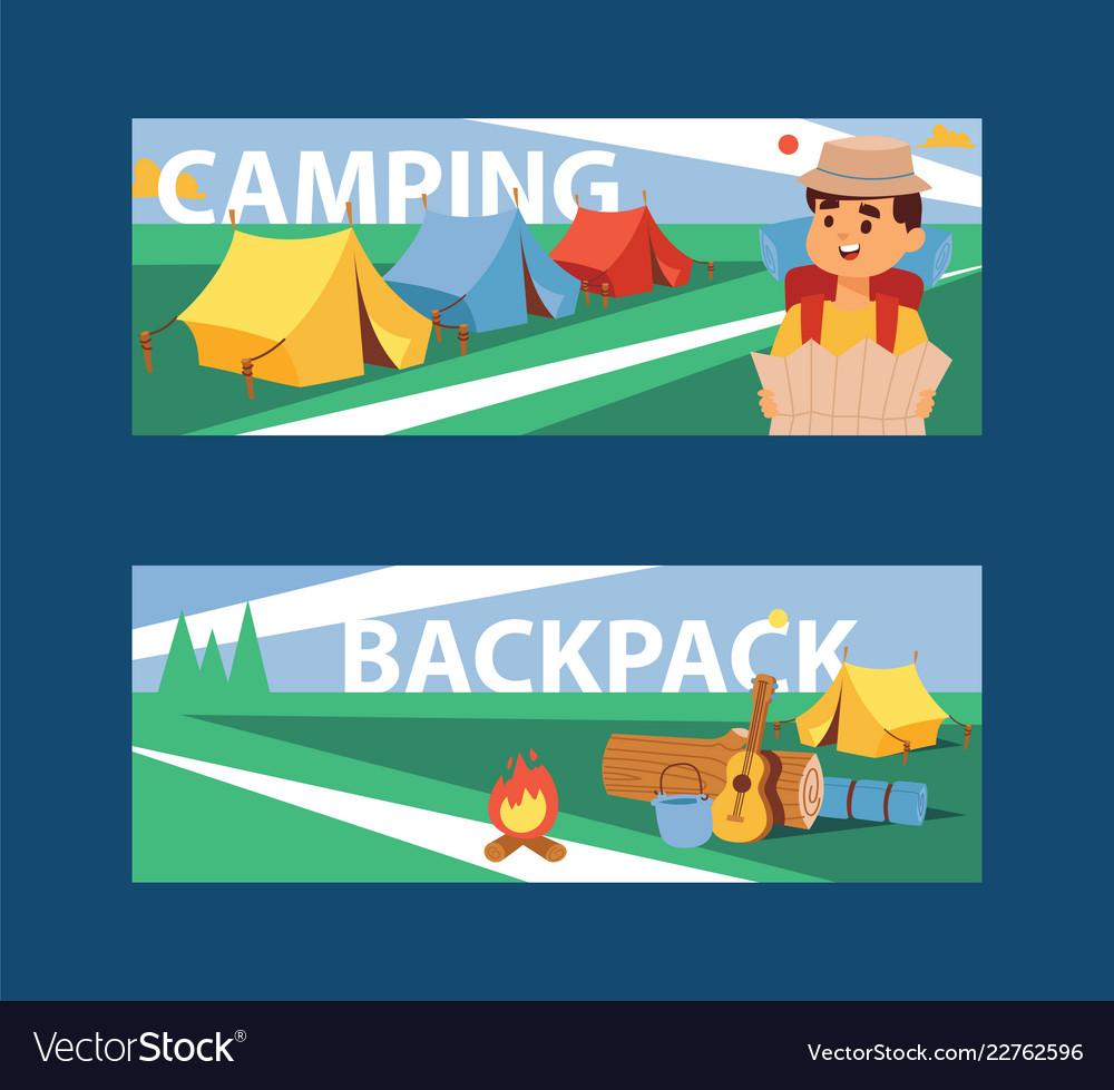 Summer camp banner camping