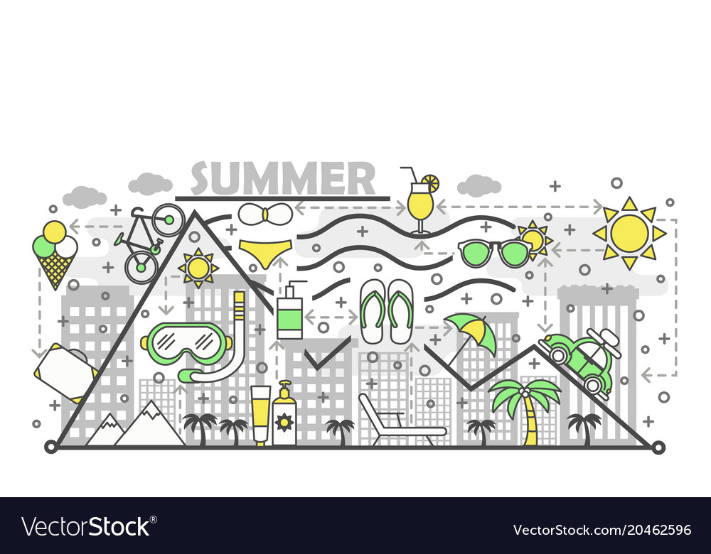 Summer flat line art vector image