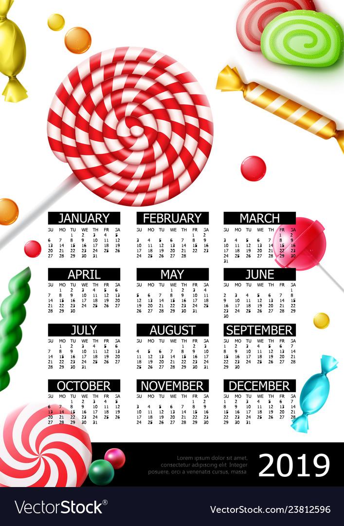Sweet candies 2019 year calendar poster