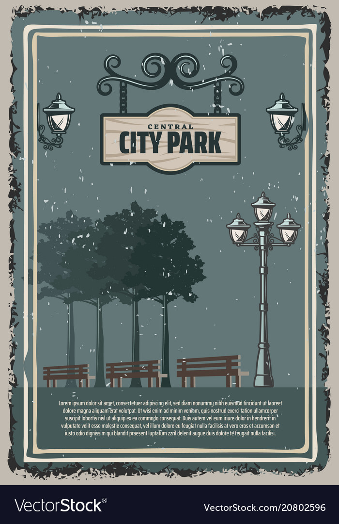 Vintage colored city park poster