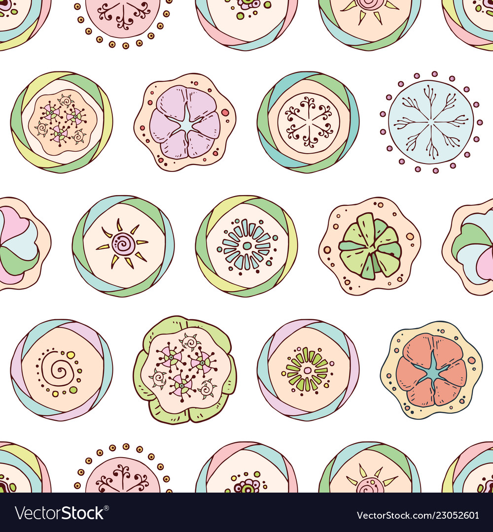 Abstract seamless pattern in doodle style with