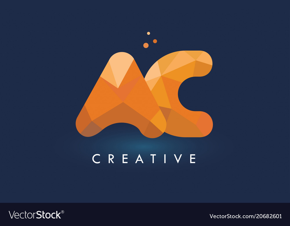 Ac letter with origami triangles logo creative