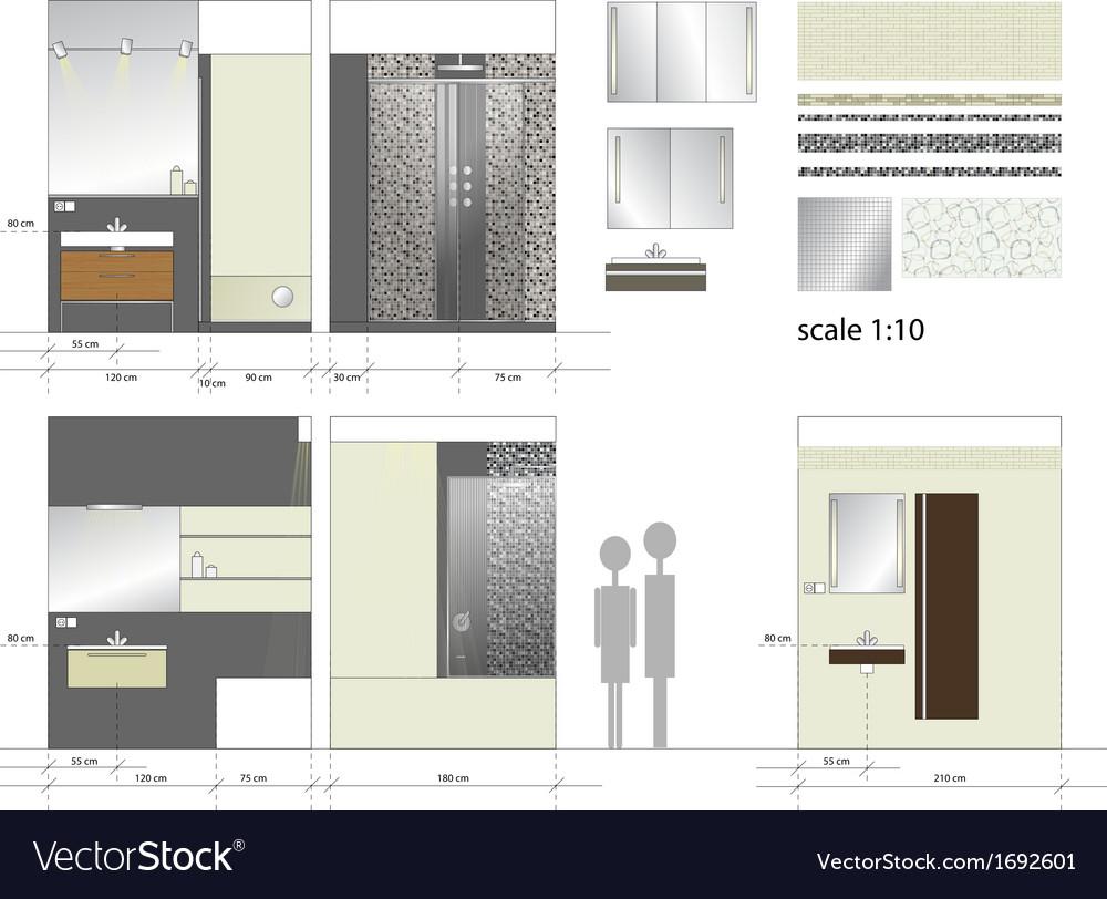 Bathroom Interior furniture Scale 1to10 vector image