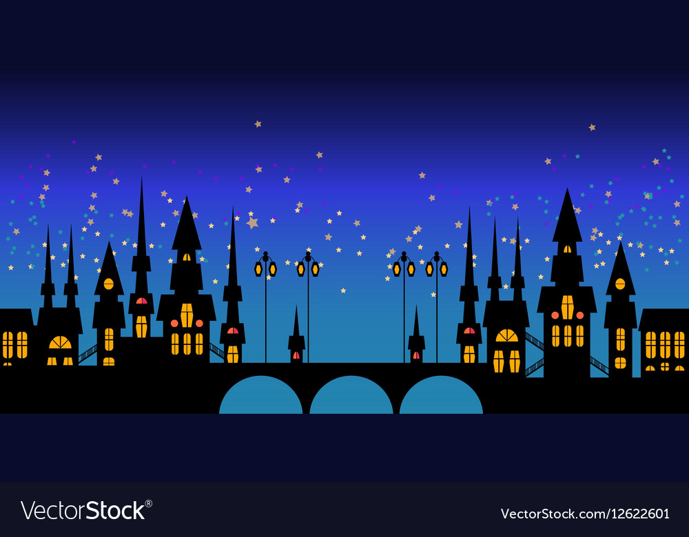 Border of Europe night city skyline