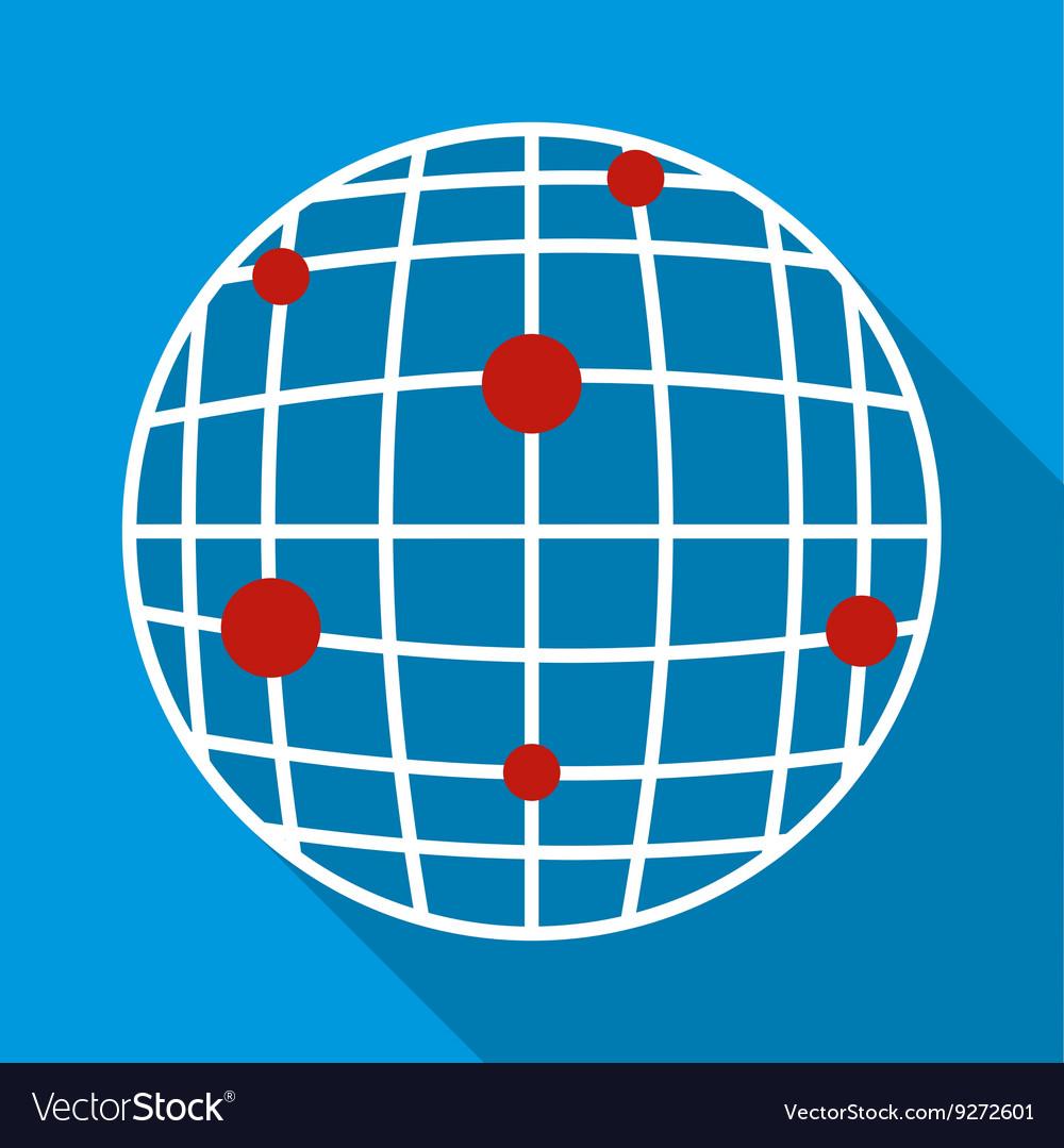 Global communication icon flat style vector image