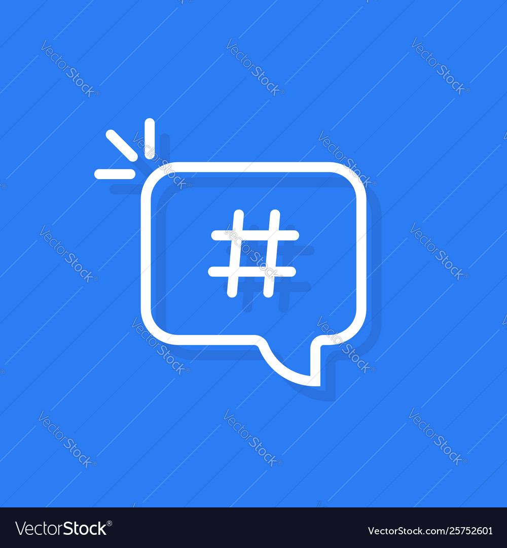 Hashtag logo in linear white bubble