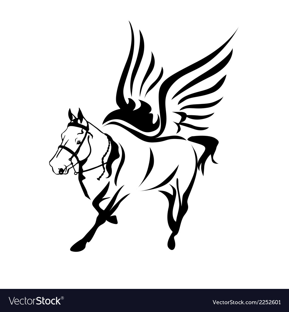 Horse-with-wings-black-and-white-horse-logo-symbol vector image