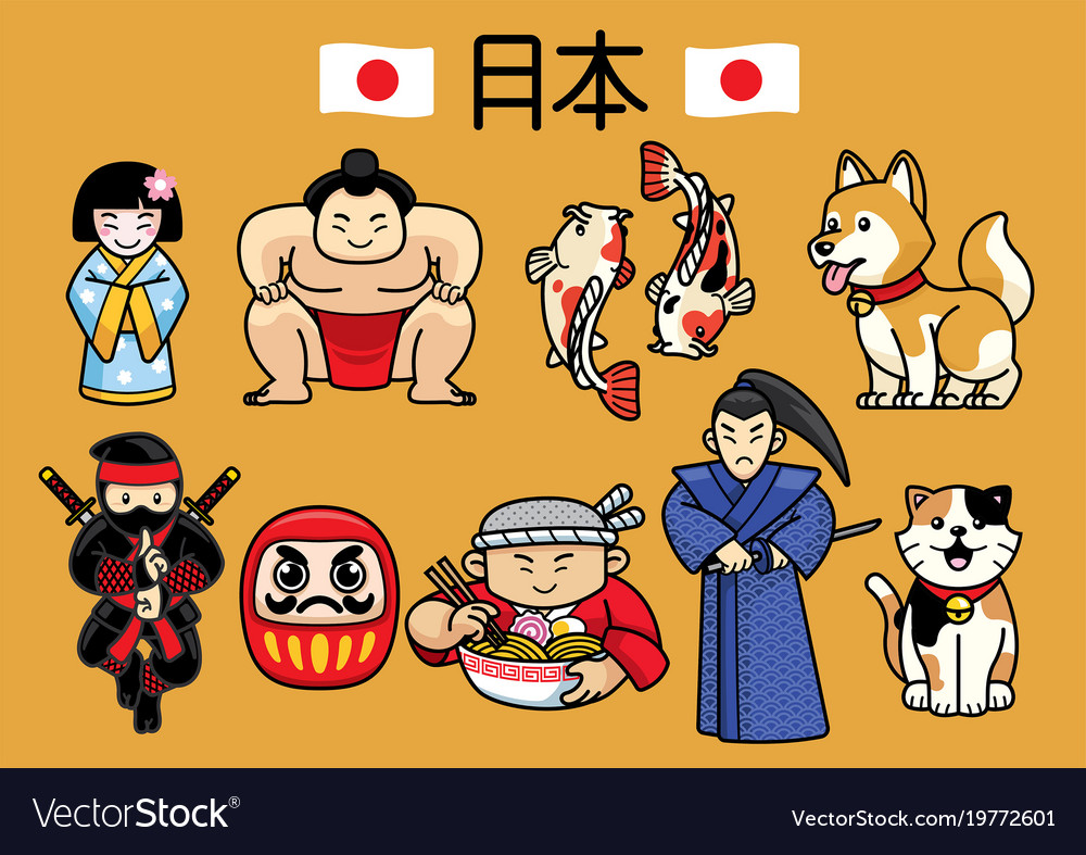 Japan character culture in set