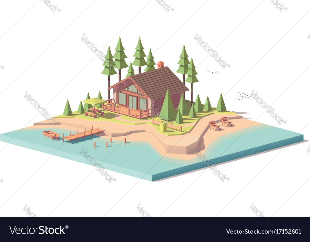 Low poly house in forest