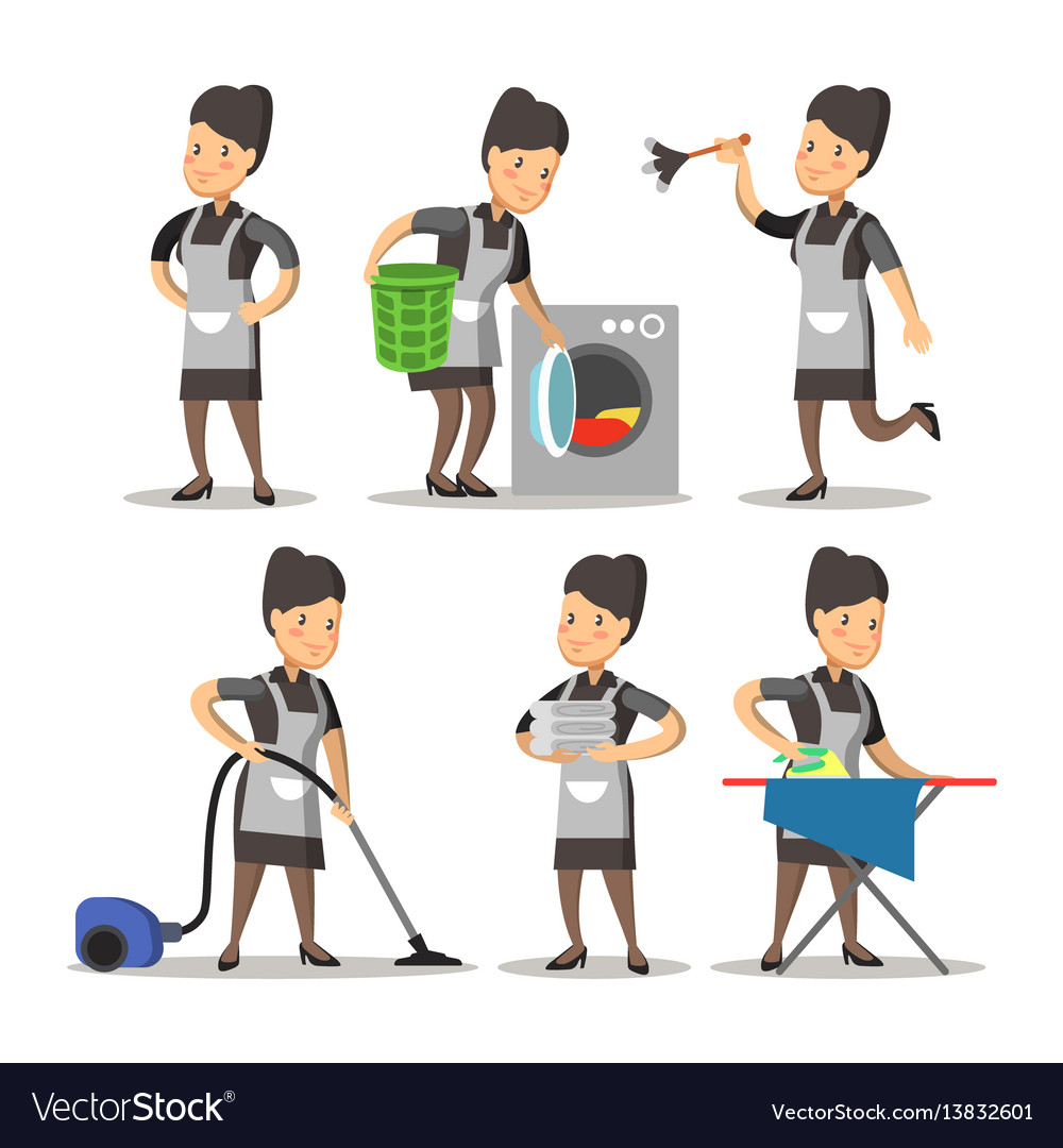 Maid cartoon in a uniform cleaning service