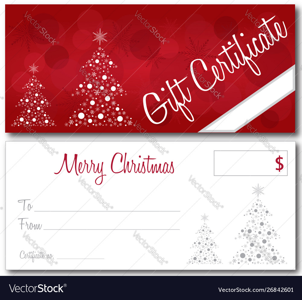 Christmas Certificate.Red Christmas Gift Certificate