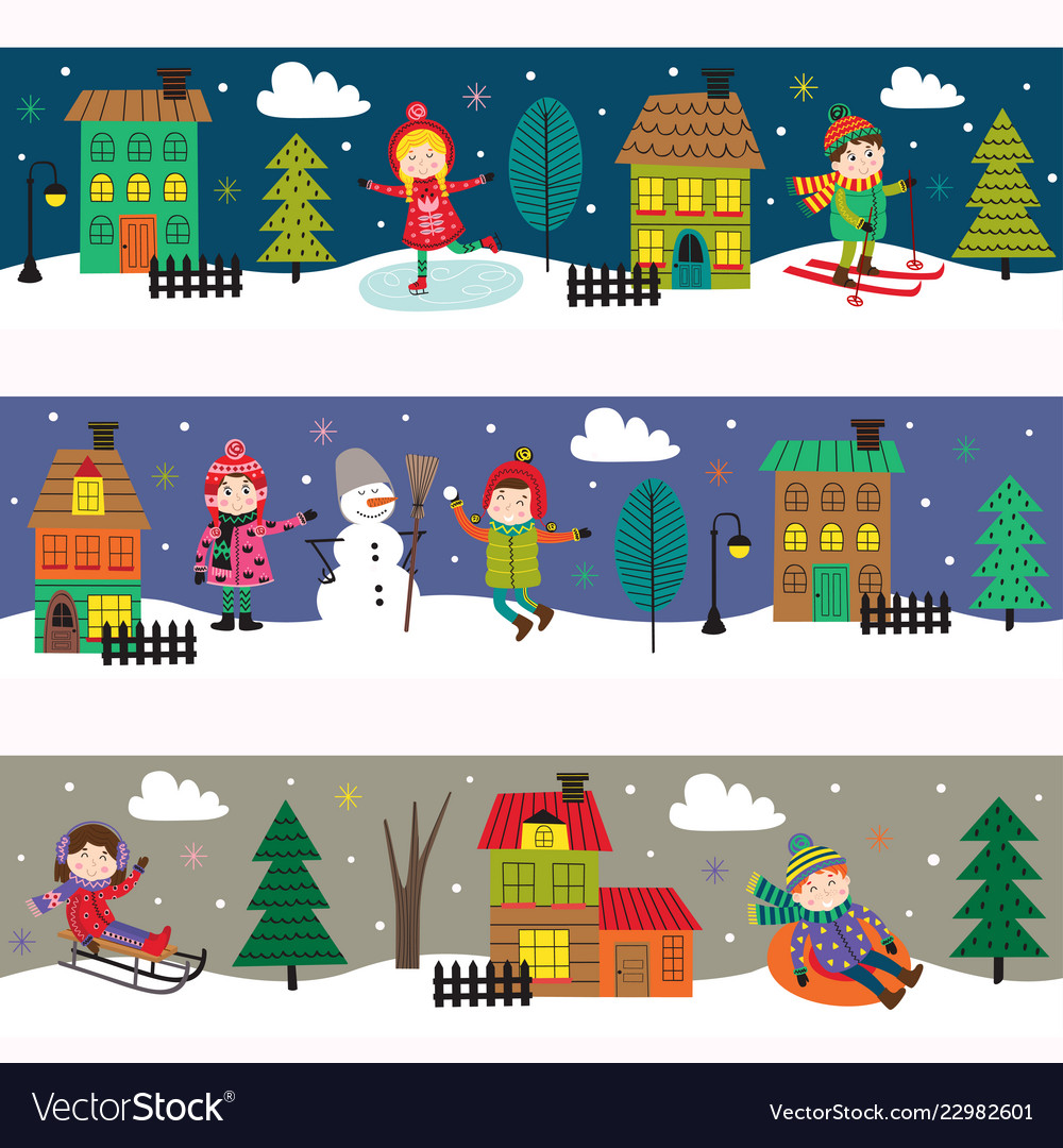 Set of horizontal banners with kids in winter time