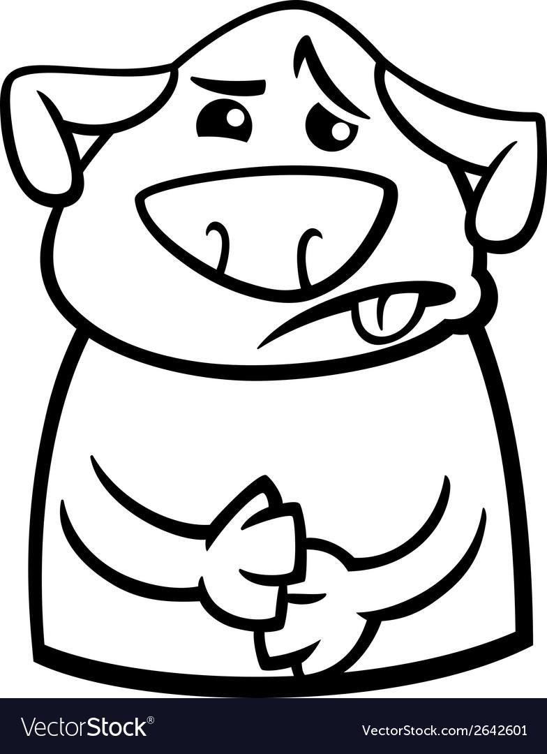 Sick dog cartoon coloring page vector image