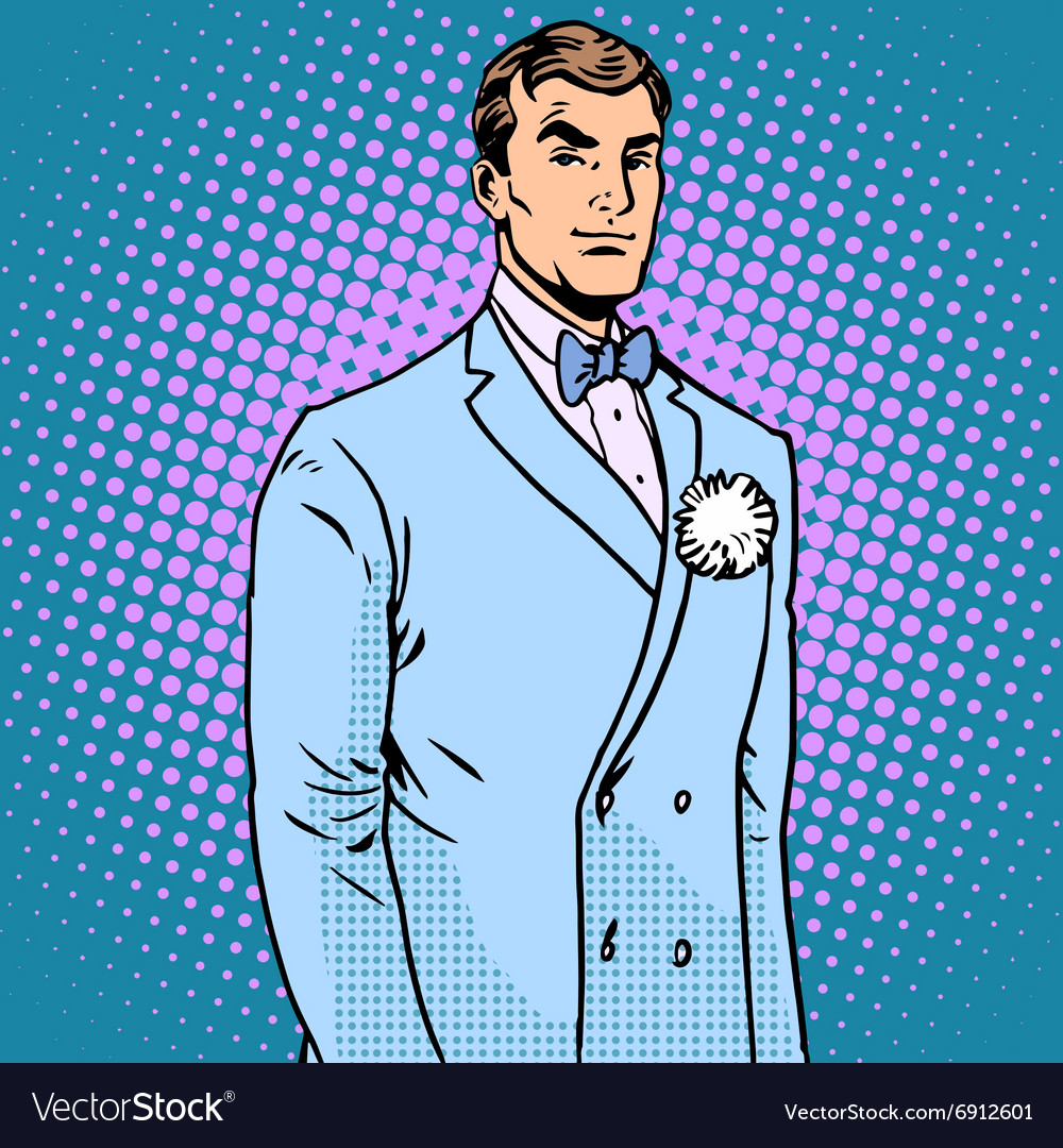 The groom in a wedding suit Royalty Free Vector Image