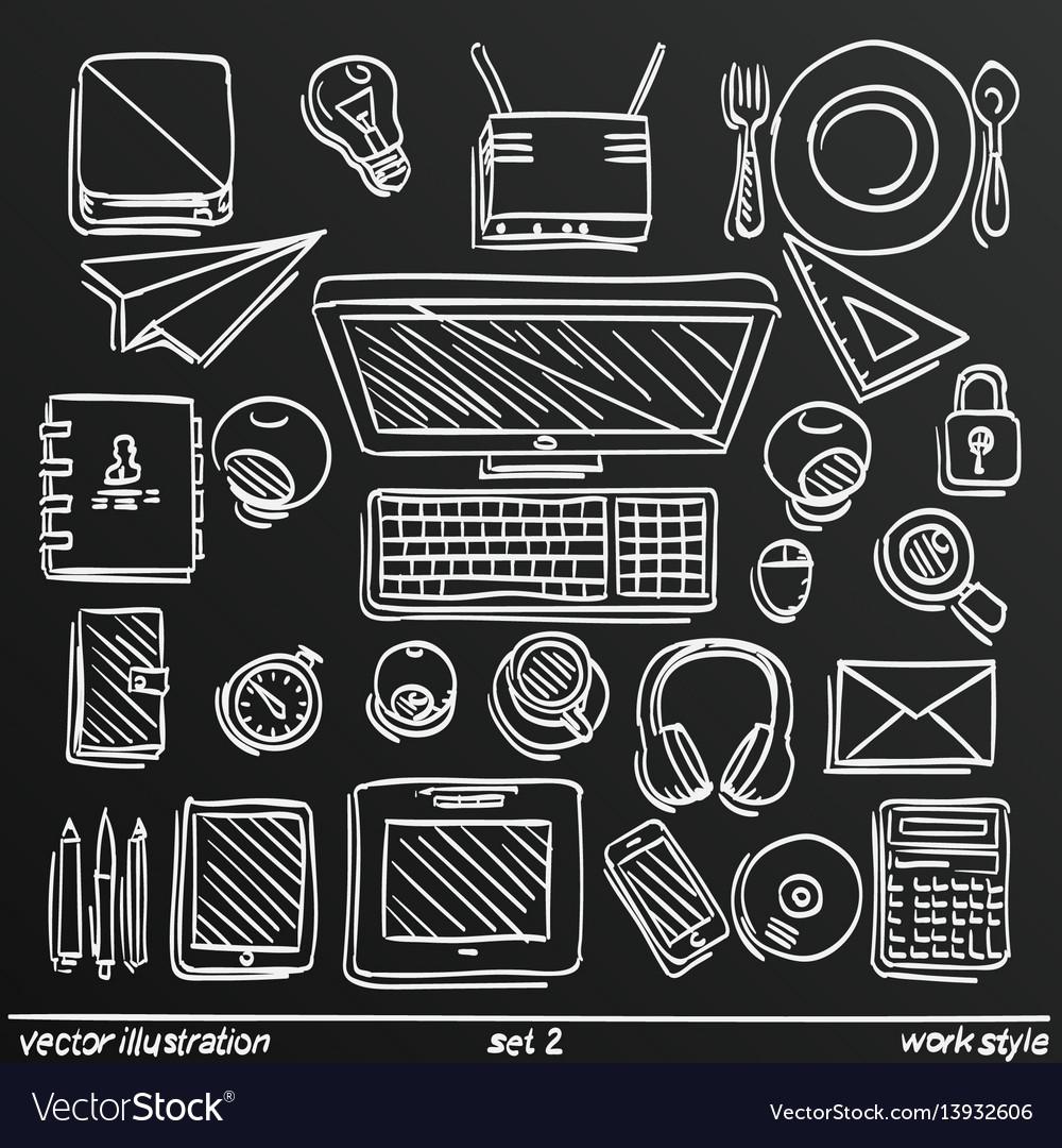 Chalkboard sketch work style set icon 2