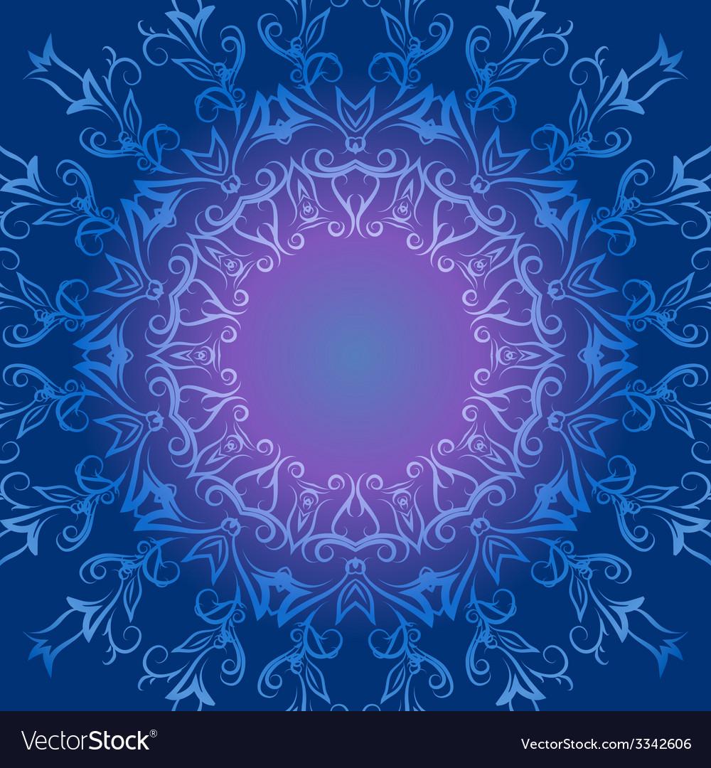 Circular ornament in blue tones vector image