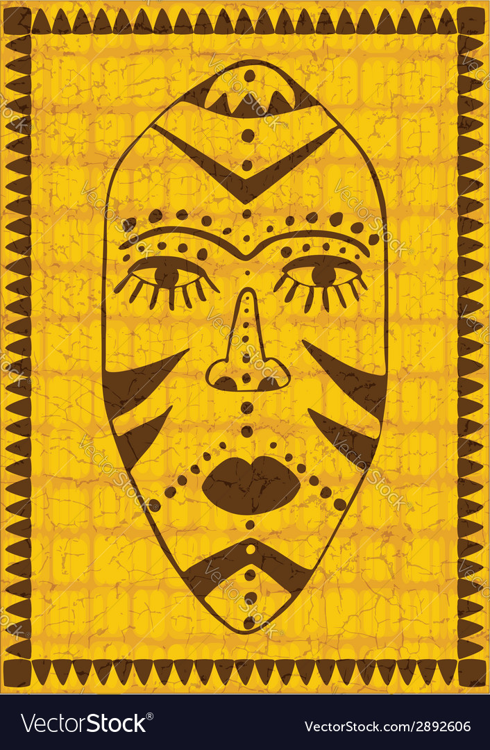 Golden african mask vector image
