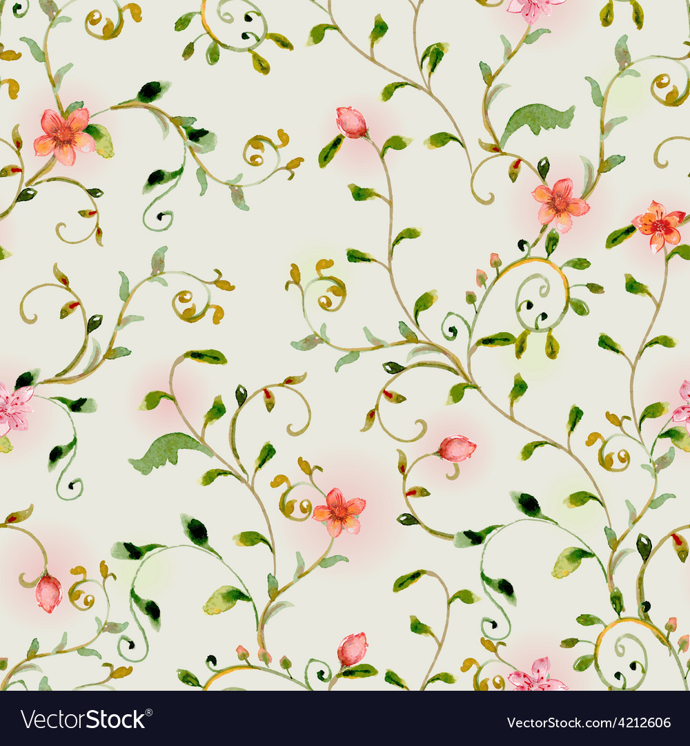 Seamless texture with foliate ornament and flowers