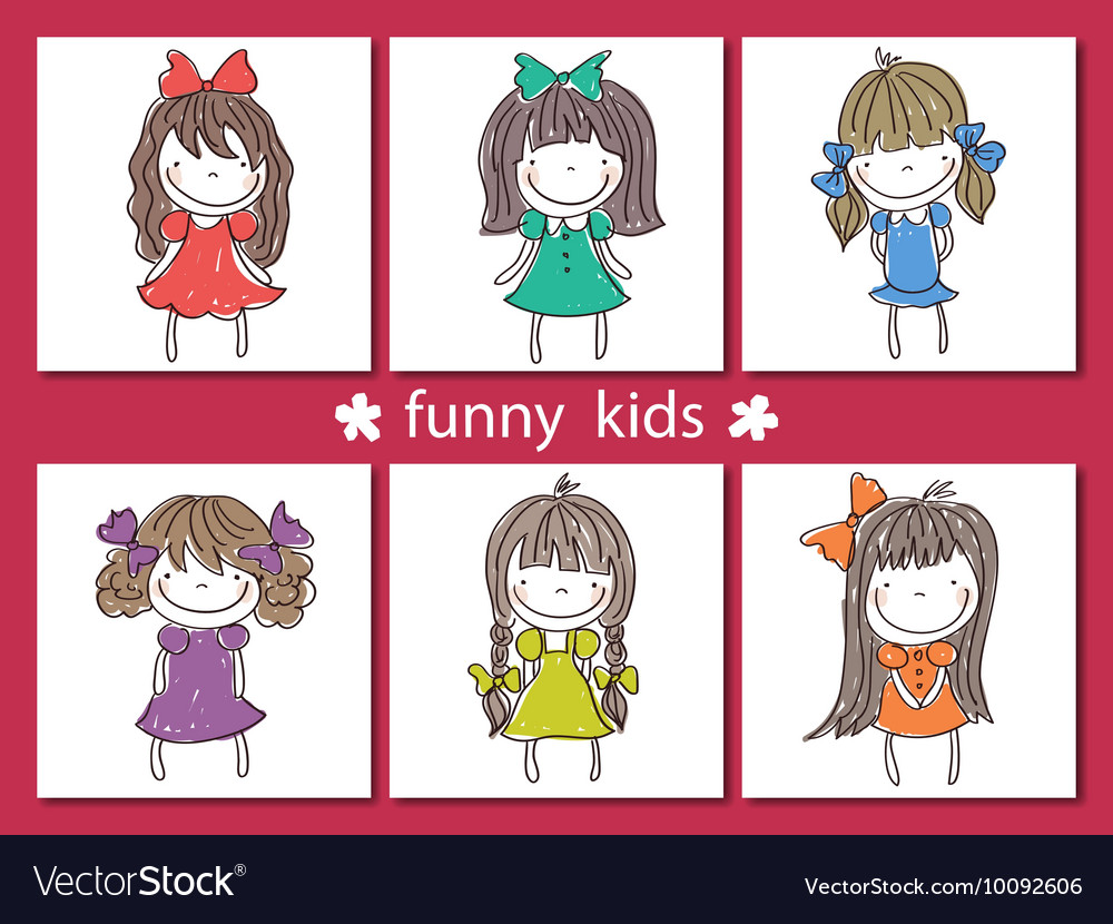 Set of funny hand drawn kids on background vector image