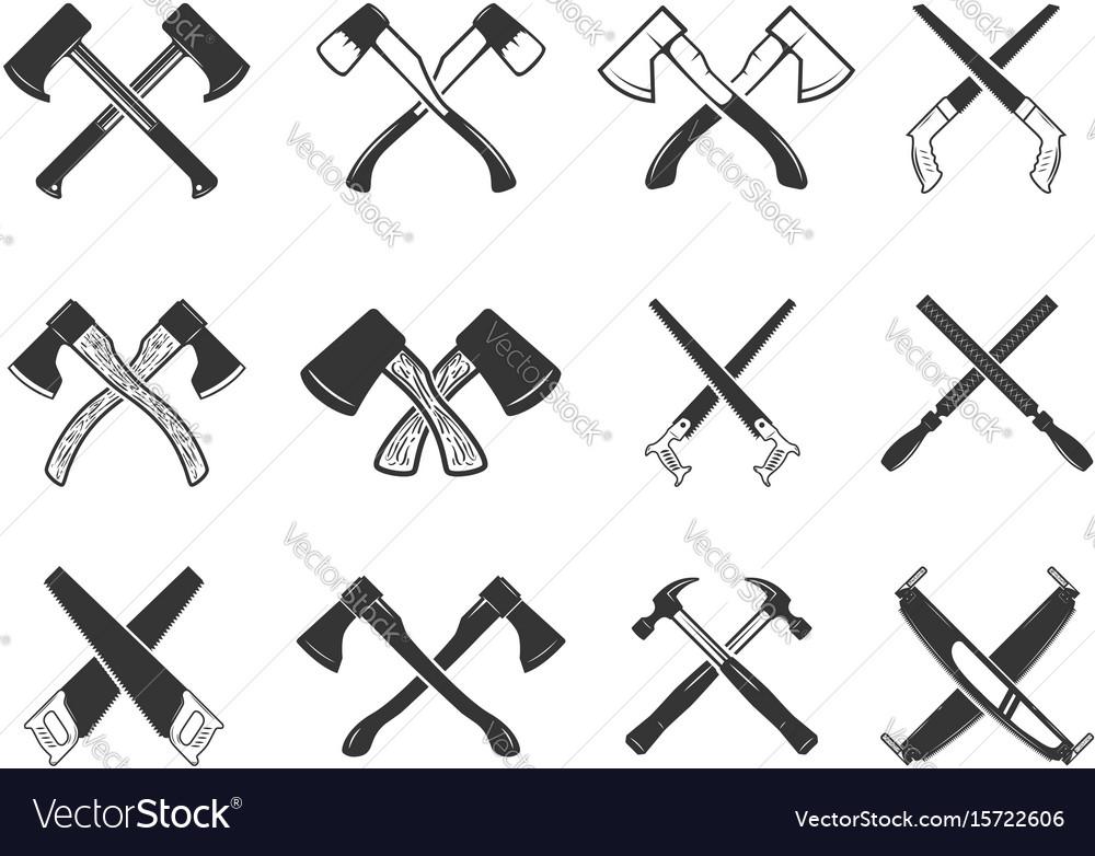 Set of the crossed carpenter tools design