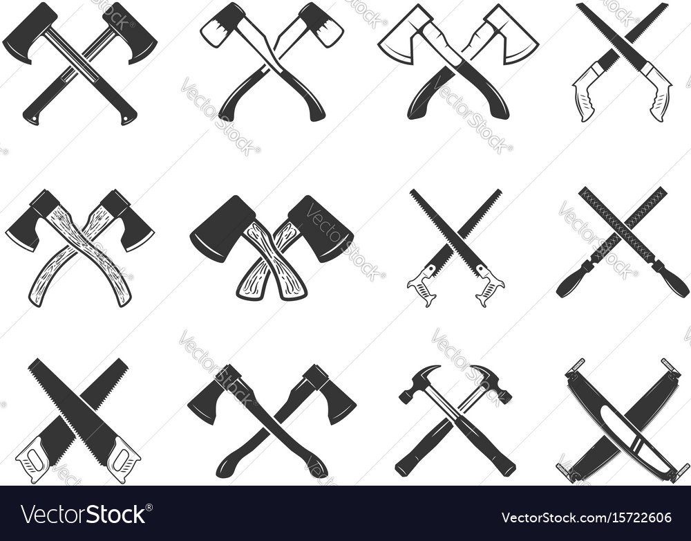 Set of the crossed carpenter tools design vector image