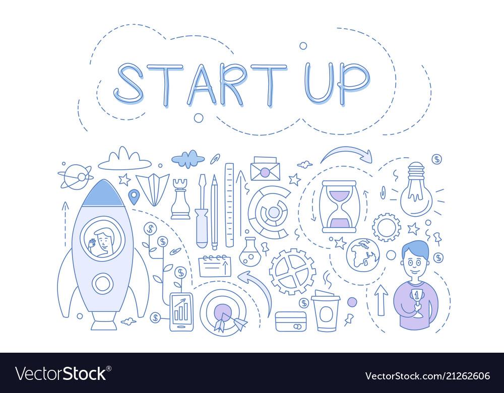 Start up set hand drawn financial design elements