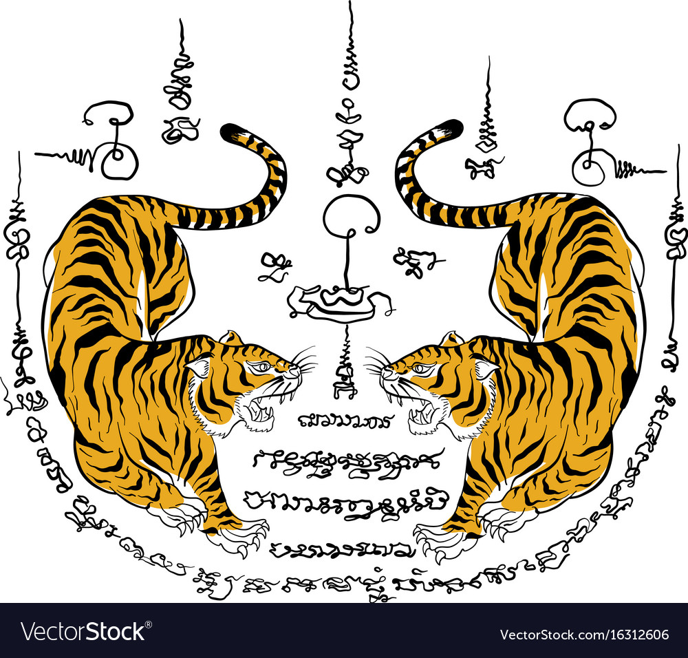 758338e95 Thai traditional painting tattoo tiger Royalty Free Vector